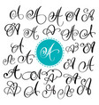 Set of hand drawn calligraphy letter a vector image
