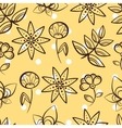 Yellow Seamless Pattern Magic Flowers vector image