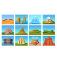 cartoon mountain landscapes set vector image