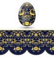 Easter egg painted Dark blue and gold seamless vector image