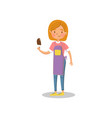 happy girl eating ice cream cartoon vector image
