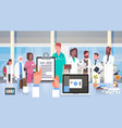 hospital medical team group of doctors in modern vector image