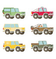 off road car set isolated on white background flat vector image