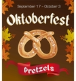 Oktoberfest vintage poster with Pretzels and vector image