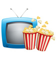 Two boxes of popcorn and television vector image