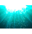 deep water bubbles blue color illuminated by rays vector image