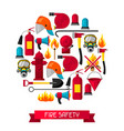 background with firefighting items fire vector image