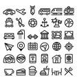 travel line icons set transport holidays vector image