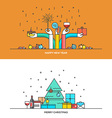 Christmas line design vector image vector image