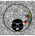 Doodle pattern with black skin woman in sunglasses vector image