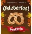 Oktoberfest vintage poster with Pretzels and vector image