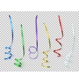 Set of colorful ribbons on transparent background vector image