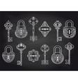 Vintage locks and keys on chalkboard vector image