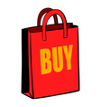 red paper bag icon cartoon vector image