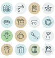 set of 16 holticulture icons includes bucket vector image