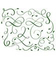 green set of vintage flourish decorative art vector image vector image