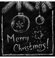 Merry Christmas lettering and balls in naive vector image