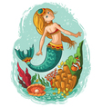 mermaid swimming in the ocean vector image