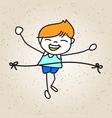 hand drawing cartoon happy kid running marathon vector image