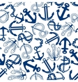 Blue anchors with chains ropes seamless pattern vector image