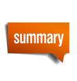 summary orange speech bubble isolated on white vector image