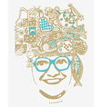Abstract smiling woman in glasses easy to vector image