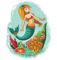 mermaid swimming in the ocean vector image