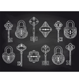 Vintage locks and keys on chalkboard vector image