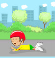 little roller boy in protective gear fell off vector image