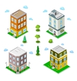 Isometric City Buildings Set Modern Houses vector image