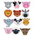 Cartoon animal head icon vector image