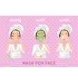 Mask for Face Girl Applying a Face Scrub vector image