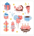 Child Birthday Party Sweets And Attributes vector image