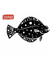 Flounder black and white vector image
