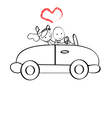 Doodle The bride and groom riding vector image