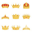 royal golden crowns set symbols of power of the vector image