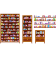 Set of bookcases and shelves vector image