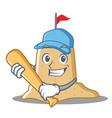 playing baseball sandcastle character cartoon vector image