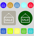 SALE tag icon sign 12 colored buttons Flat design vector image