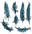set of ornamental feather tribal design ink hand vector image