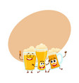 three funny smiling beer glass and mug characters vector image