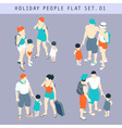 Tourist People 3D Flat Isometric Set 01 vector image