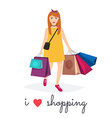 Woman shopping and holding bags I love shopping vector image