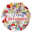 Merry christmas set of xmas colorful pattern vector image