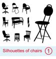 collection of different chairs silhouettes vector image vector image