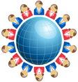 Business men and women around globe vector image