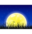 Huge yellow moon with grass meadow vector image