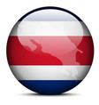 Map on flag button of Republic of Costa Rica vector image