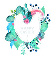 Easter watercolor natural with chicken sticker vector image vector image