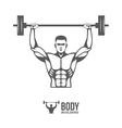 Bodybuilder lifting barbell vector image